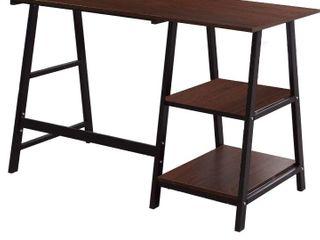 Soges 55 Inch Computer Desk Trestle Desk Writing Home Office Desk Hutch Workstation with Shelf Walnut   Black CS Tplus 140WB Retail   129
