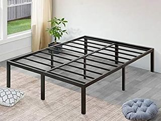 SlEEPlACE 18 Inch High Profile Heavy Duty Steel Slat   Mattress Foundation   Bed Frame  Queen