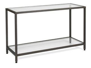 Home Camber Modern Glass Console Table 47  Gray   Studio Designs