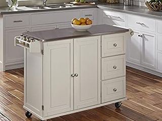 liberty Off White Kitchen Cart with Stainless Steel Top by Home Styles