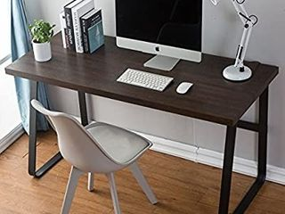 DYH Vintage Computer Desk  Wood and Metal Writing Desk  PC laptop Home Office Study Table  Espresso 47 inch