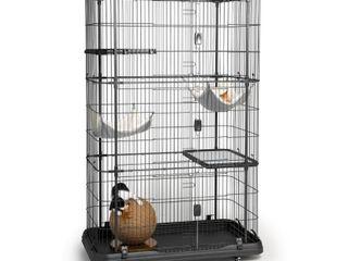 Prevue Pet Products  4 Tier   2 Hammock Playpen  Cat Cage  Black  65 in