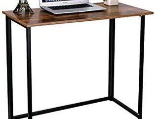 HOMEKOKO Folding Table  Small Foldable Computer Desk  Home Office laptop Table Writing Desk  Compact Reading Table for Small Space  Modern Simple Study Desk Industrial Style  Rustic Brown