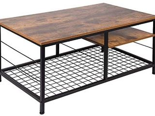 leopard Coffee Table with Adjustable Shelf  Industrial Coffee Table with Metal legs for living Room  Home Office Coffee Table with Adjustable Storage Shelf  Rustic Brown