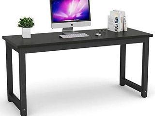 Tribesigns Modern Computer Desk  63 inch large Office Desk Computer Table Study Writing Desk Workstation for Home Office  Black Metal Frame