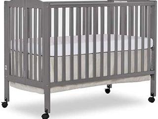 Dream On Me  Full Size 2 in 1 Folding Stationary Side Crib  Steel Grey