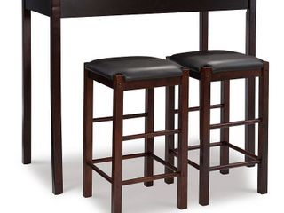 Tavern 42  Wood Table   2 Upholstered Backless Stools   Espresso Wood   linon