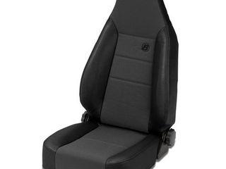 BestopAr 39438 15 TrailMax II Sport Black Denim High Back Vinyl with Fabric Insert Single Jeep Seat for 76 06 Jeep CJ and Wrangler