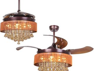 Ceiling Fans with lED lights 46 Inch Ceiling Fan with Remote Crystal Chandelier Fans with Retractable Blades  Replaceable 4000K Cool White lights  Not Dimmable  Brown