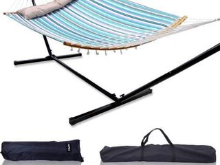 Ohuhu Double Hammock with 12 8 FT Hammock Stand  55  x 75  Quilted Fabric Hammock Swing with Strong Curved Bar Bamboo   Pillow  Stable Detachable Metal Stand  Bonus 2 Carrying Bag  Blue   White Strip Retail   134