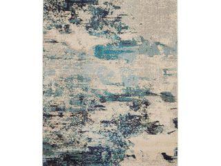 Nourison Celestial Beach Abstract Ivory Teal Blue Area Rug