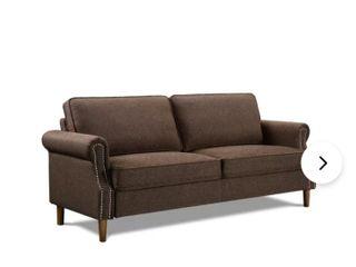 linen Blend Standard 73 2  Round Arm Sofa