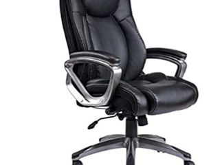 REFICCER Bonded leather Office Chair   Adjustable Built in lumbar Support and Tilt Angle High Back Executive Computer Desk Chair for Office Workers   Students