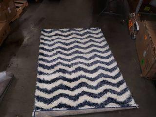Blue and White Cevron Shag Rug