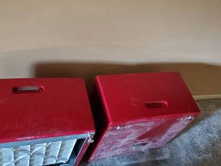 Red Washer and Dryer Pedestals