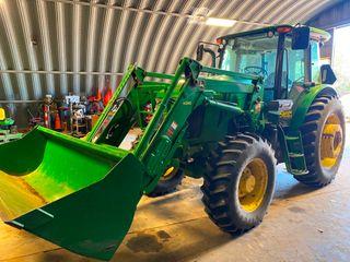 2013 JD 6140D Tractor w H310 loader  Bucket  Power Reverser  18 4 38  Tires  14 9 24  Fronts  Pallet