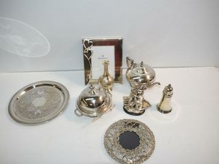 Silver Plate Photo Frames  Tray   Butter Dish  etc