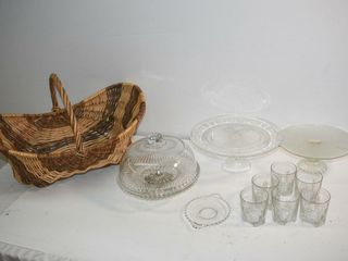 Basket of Assorted Glassware