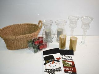 Basket of Candle Holders  etc