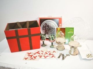 Red Carry Box with New Christmas  Misc Items