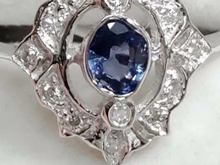 14K White Gold Blue Sapphire 0 33Ct