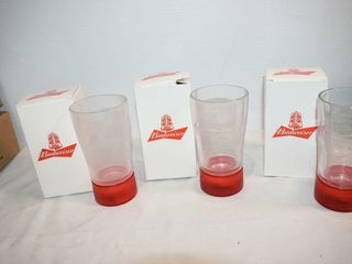3  Budweiser Battery Operated Beer Glasses
