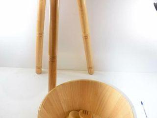 Solid wood large salad bowl  tongs on tripod