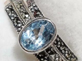 Silver Aquamarine Onyx Set  Size 7   EC25 14