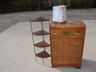 Grouping 4 drawer dresser  corner shelf etc