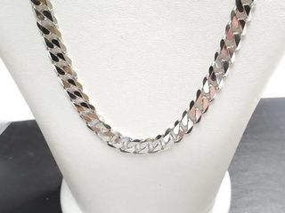 Silver Curban Chain Necklace  length 18cm