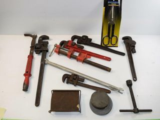 Grouping Pipe Wrenches  Tin Snips etc