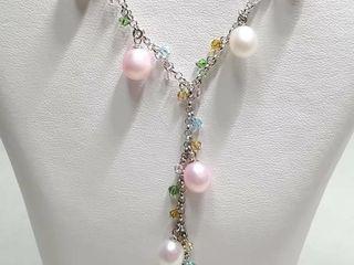 Silver Pearl Flexible Necklace  length 18cm