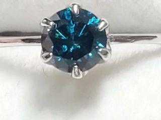 14K White Gold Diamond 0 6Ct  I1  Fancy Vivid