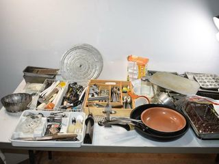 Kitchen Cutlery and Baking Items  Fry Pans  etc