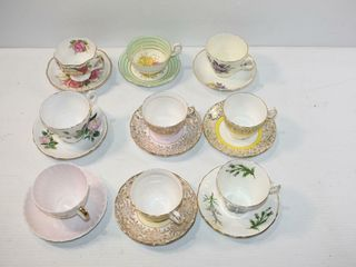 9  Tea Cups and Saucers