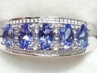 Silver Tanzanite 1 5ct  Cubic Zirconia Ring