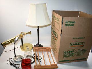 Table lamps  Glassware  etc