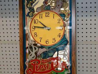 Pepsi Mirrored Clock  25  x 13