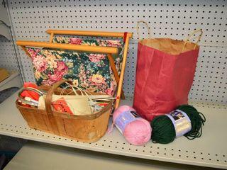Knitting Basket  Yarn and Needles