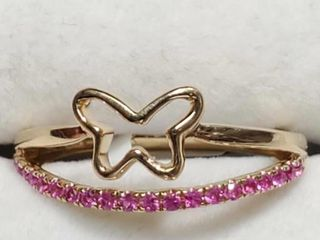 14K Yellow Gold Ruby 0 2ct  Very Intense Red Ring