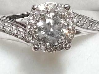 14K White Gold Diamond 0 33Ct  I2 H
