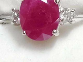 10K White Gold Ruby 2 5ct  Diamond 0 06Ct  Ring