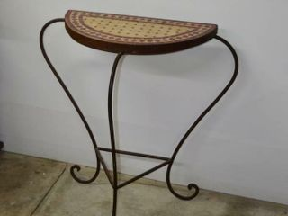 Metal Tile Top Accent Table