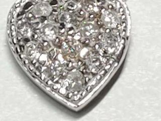 Silver Cubic Zirconia Heart Shaped Pendant
