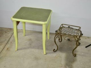 Small Wooden Painted Table and Metal Plant Stand
