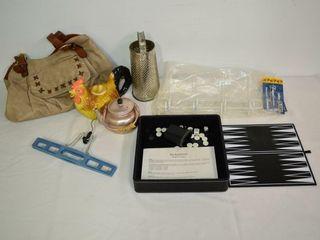 Grp  of Handbag  Backgammon Game  Teapot