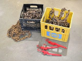 Set of Tractor Tire Chains and Rusty Chain