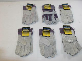 6pr  leather Palm Work Gloves l