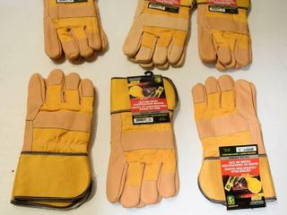 6pr leather Palm Insulated Gloves l