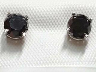 14K White Gold Black Diamond 1 03Ct  Earrings